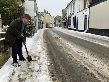 James Sandbach clearing snow