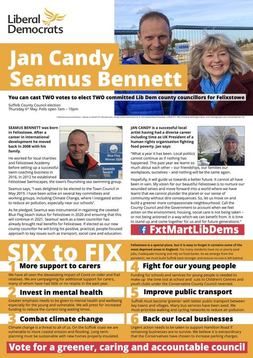 Jan Candy & Seamus Bennett Election 2021 (East Suffolk Lib Dems)