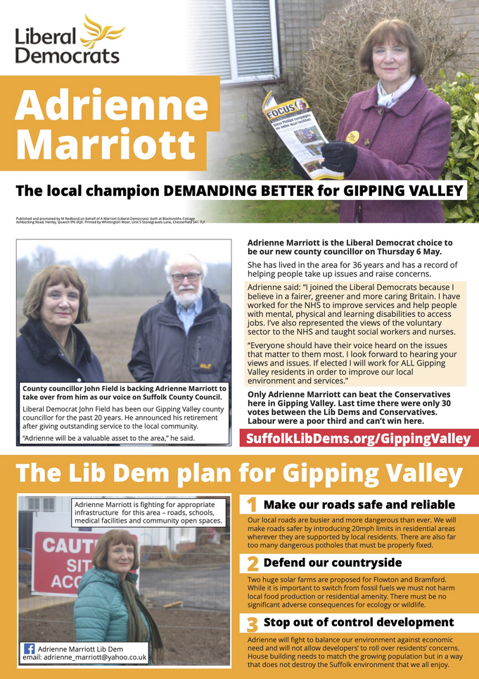 Adrienne Marriott Election 2021 (Mid Suffolk Lib Dems)